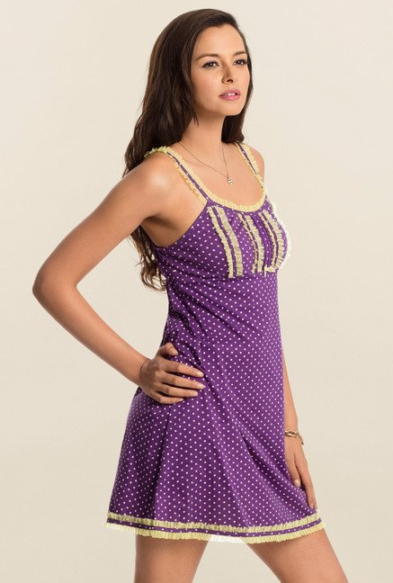 PrettySecrets Purple Polka Dot Play Short Chemise