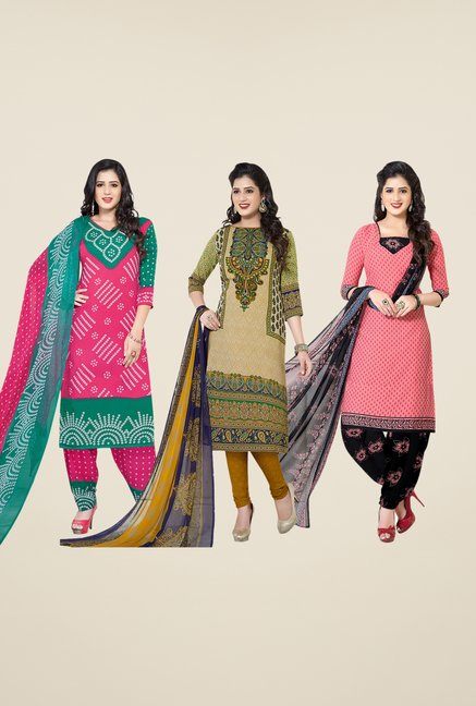 Salwar Studio Pink, Beige & Peach Dress Material (Pack Of 3)