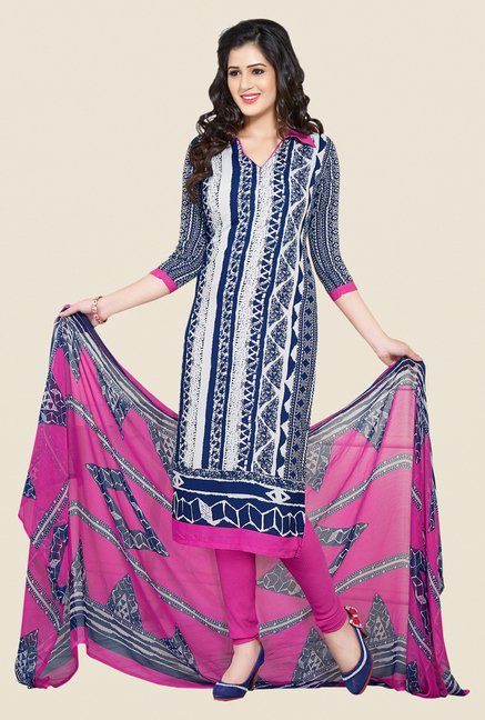Salwar Studio Blue, Peach & Navy Dress Material (Pack Of 3)