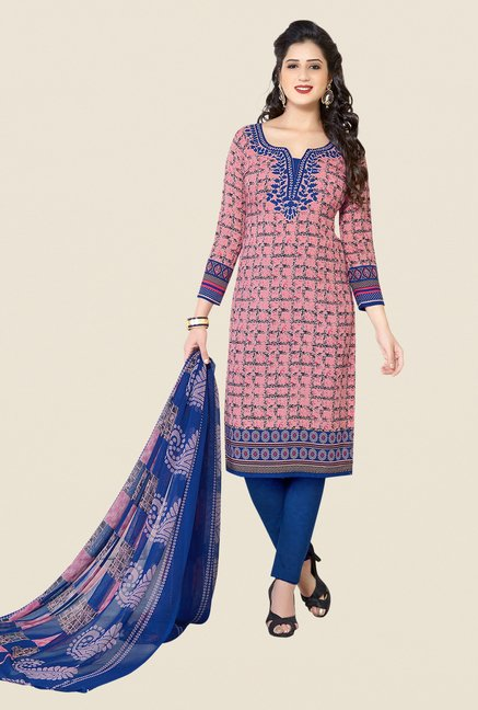 Salwar Studio Pink, Blue & Beige Dress Material (Pack Of 3)