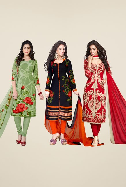 Salwar Studio Green, Black & Red Dress Material (Pack Of 3)