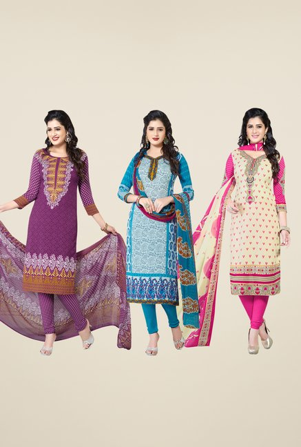 Salwar Studio Purple, Blue, Beige Dress Material (Pack Of 3)