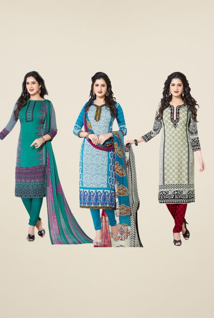 Salwar Studio Teal, Blue & Grey Dress Material (Pack Of 3)