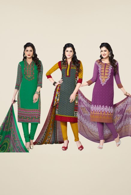 Salwar Studio Green, Grey, Purple Dress Material (Pack Of 3)