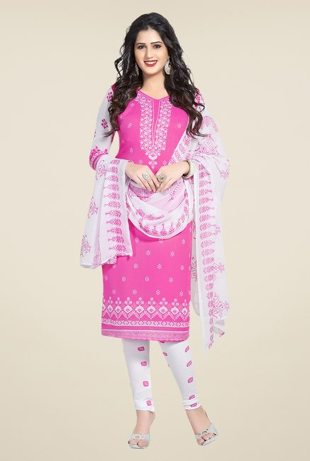 Salwar Studio Pink, Blue & Green Dress Material (Pack Of 3)
