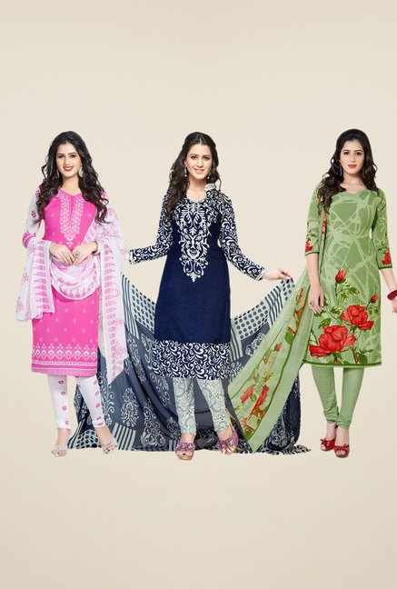 Salwar Studio Pink, Navy & Green Dress Material (Pack Of 3)