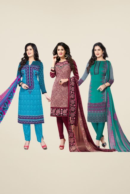 Salwar Studio Blue, Maroon & Teal Dress Material (Pack Of 3)