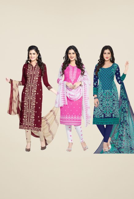 Salwar Studio Maroon, Pink & Navy Dress Material (Pack Of 3)