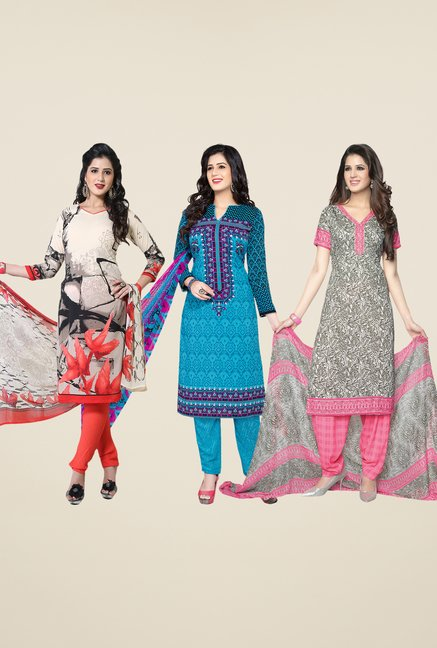 Salwar Studio Beige, Blue & Grey Dress Material (Pack Of 3)