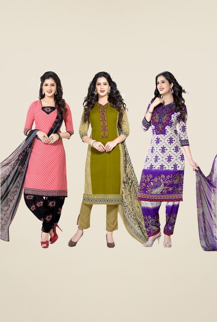 Salwar Studio Peach, Green, Purple Dress Material(Pack Of 3)