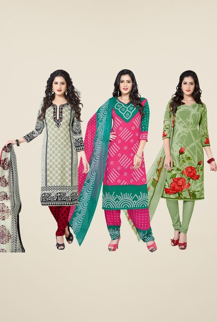 Salwar Studio Grey, Pink & Green Dress Material (Pack Of 3)