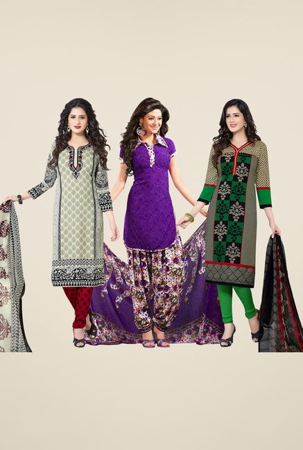 Salwar Studio Grey, Purple, Green Dress Material (Pack Of 3)