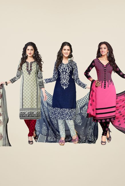 Salwar Studio Grey, Navy & Pink Dress Material (Pack Of 3)