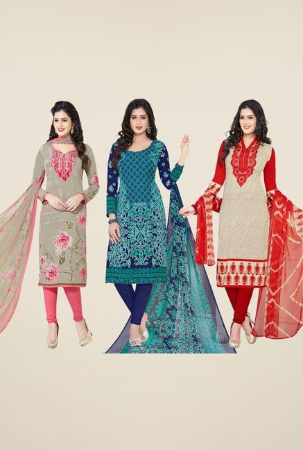 Salwar Studio Olive, Navy & Beige Dress Material (Pack Of 3)