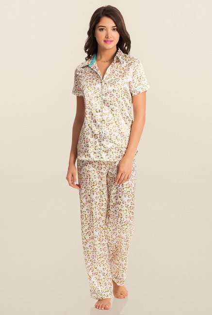 PrettySecrets White Wild Heart Midnight Top & Pyjama Set