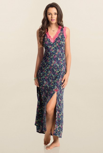 PrettySecrets Navy Midnight Snuggle Up Long Nightdress