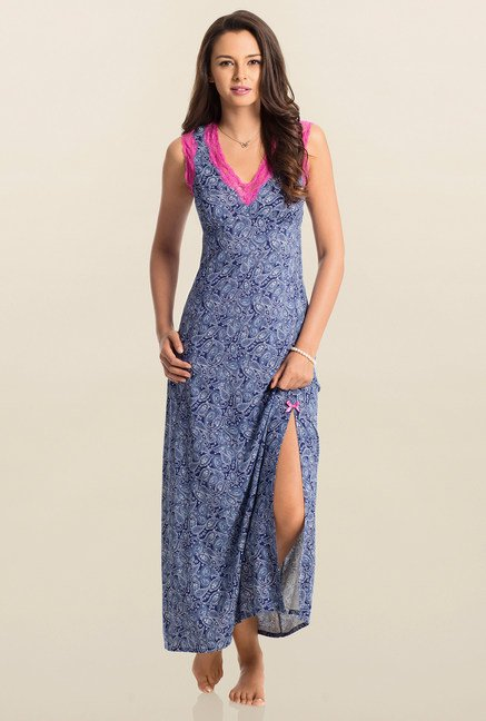 PrettySecrets Navy Paisley Print Snuggle Up Long Nightdress