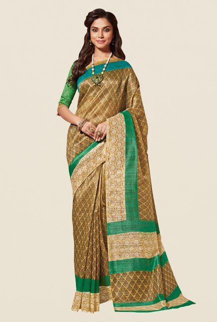 Shonaya Beige & Green Cotton Silk Saree