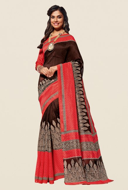 Shonaya Brown & Pink Cotton Silk Saree