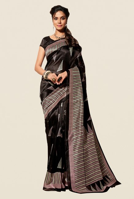 Shonaya Black Cotton Silk Printed Saree