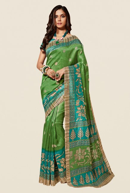 Shonaya Green & Turquoise Cotton Silk Saree