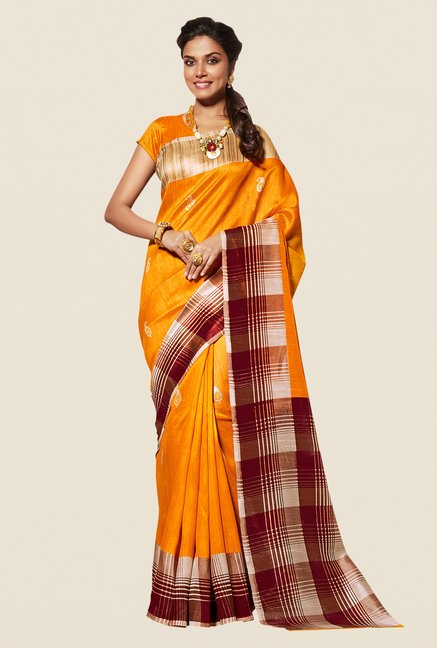 Shonaya Yellow Cotton Silk Saree