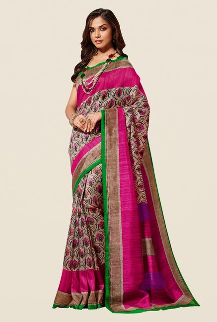 Shonaya Beige & Pink Cotton Silk Saree