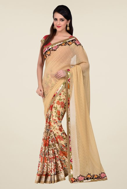 Shonaya Beige Net & Georgette Butti Saree