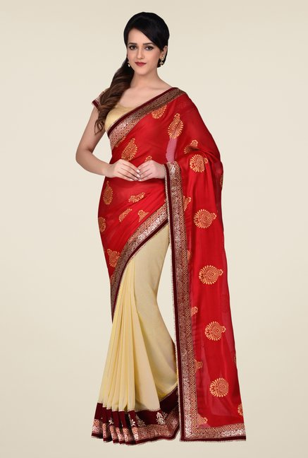 Shonaya Beige & Red Georgette & Satin Crepe Saree