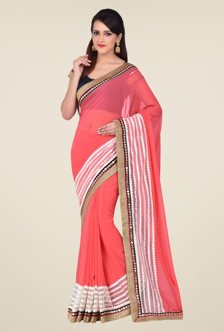 Shonaya Peach Georgette Saree