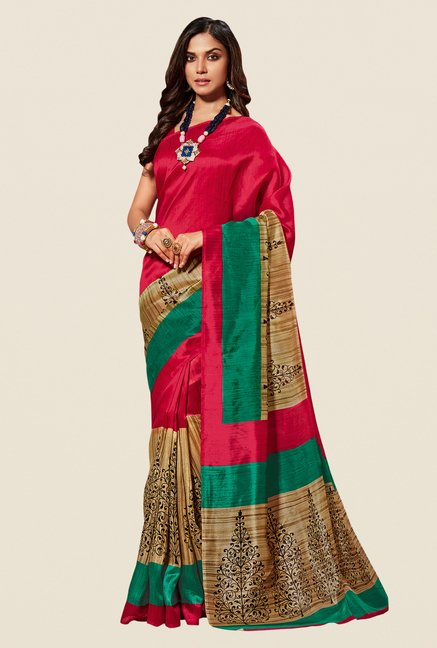 Shonaya Red Cotton Silk Printed Saree