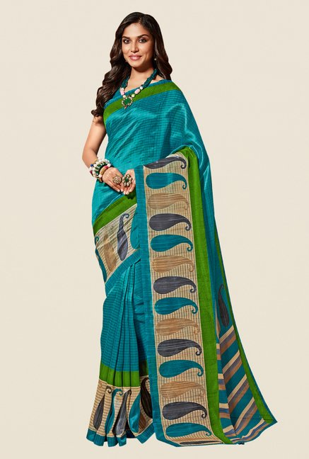 Shonaya Turquoise & Beige Cotton Silk Saree