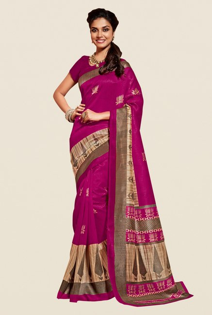Shonaya Purple & Beige Cotton Silk Saree
