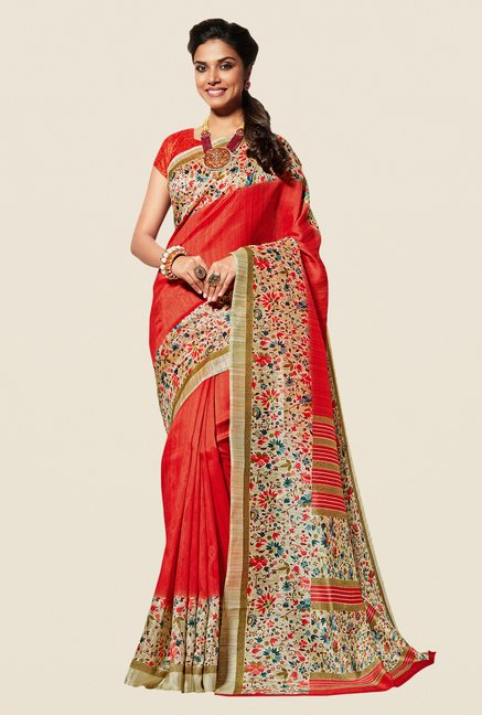 Shonaya Orange & Beige Cotton Silk Saree