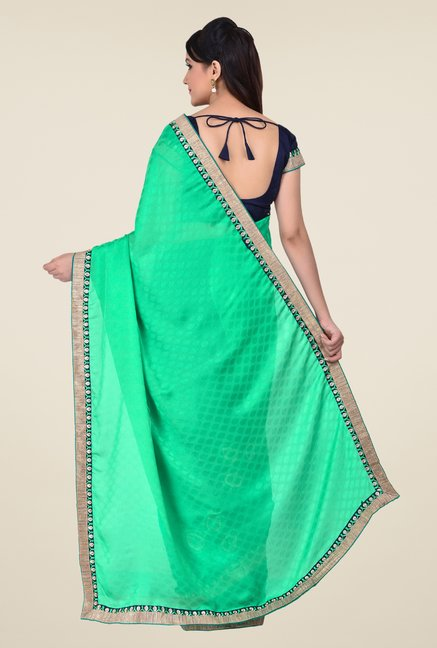 Shonaya Navy & Green Georgette & Crepe Butti Saree