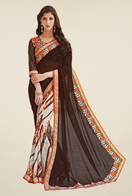 Shonaya Brown & Off White Georgette Saree