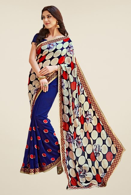 Shonaya Blue & Peach Georgette Saree