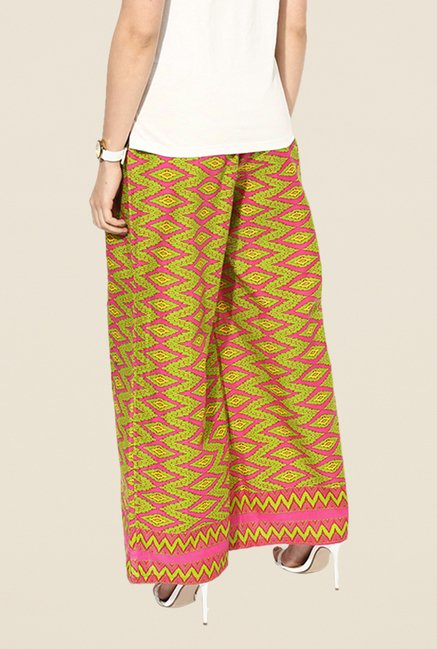 Stylenmart Green Printed Palazzos
