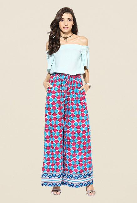Stylenmart Blue Printed Palazzos