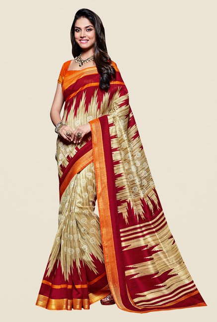 Shonaya Beige & Red Kanjivaram Art Silk Printed Saree