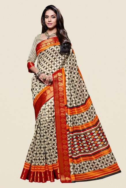 Shonaya Beige & Red Kanjivaram Art Silk Saree
