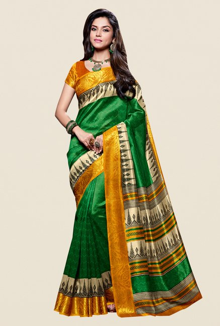 Shonaya Green & Yellow Kanjivaram Art Silk Saree