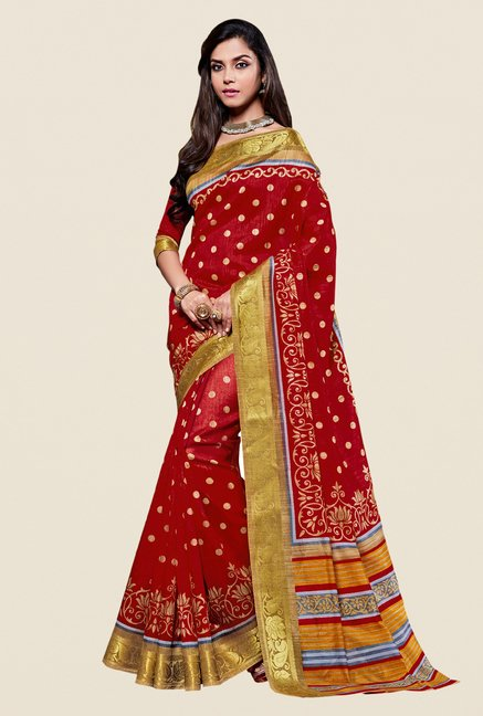 Shonaya Red & Gold Kanjivaram Art Silk Saree
