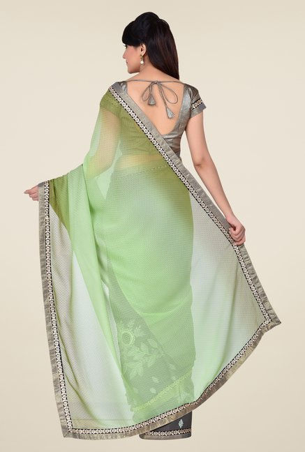 Shonaya Grey & Lime Green Georgette & Satin Saree