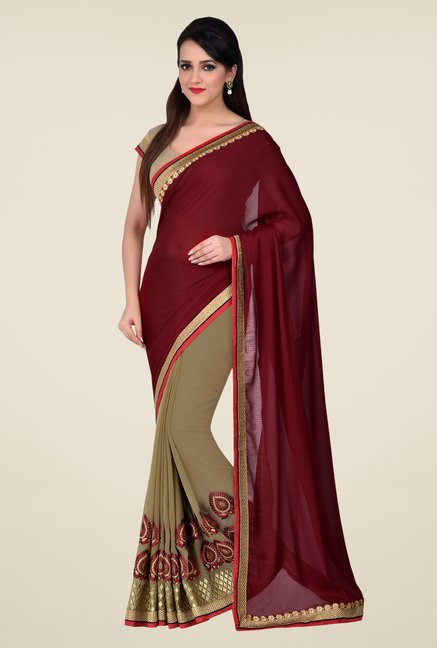 Shonaya Beige & Maroon Georgette & Marble Checked Saree