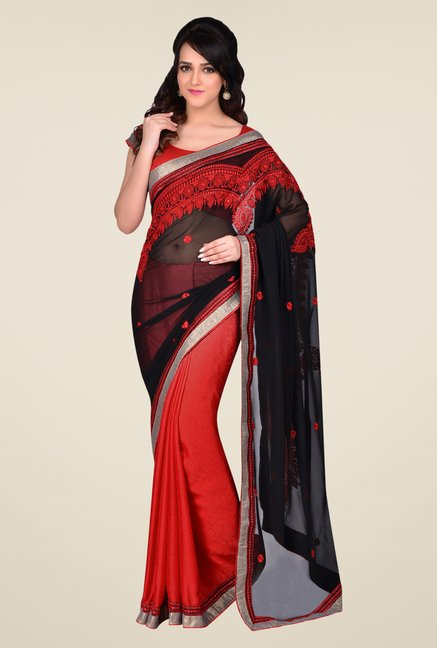Shonaya Red & Black Georgette & Crepe Saree