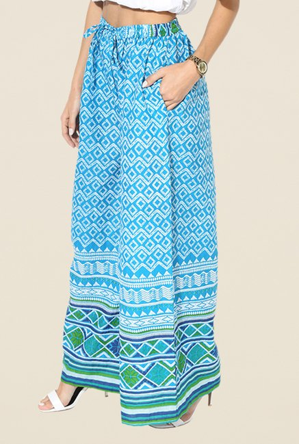 Stylenmart Turquoise Printed Palazzos