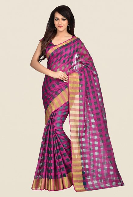 Shonaya Pink & Green Banarasi Art Silk Saree