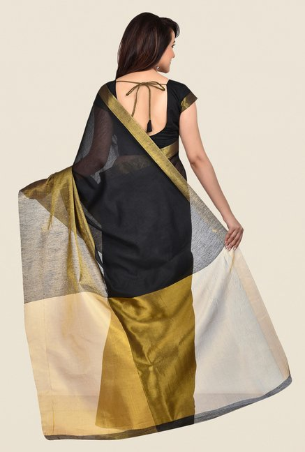 Shonaya Black & Gold Banarasi Art Silk Solid Saree