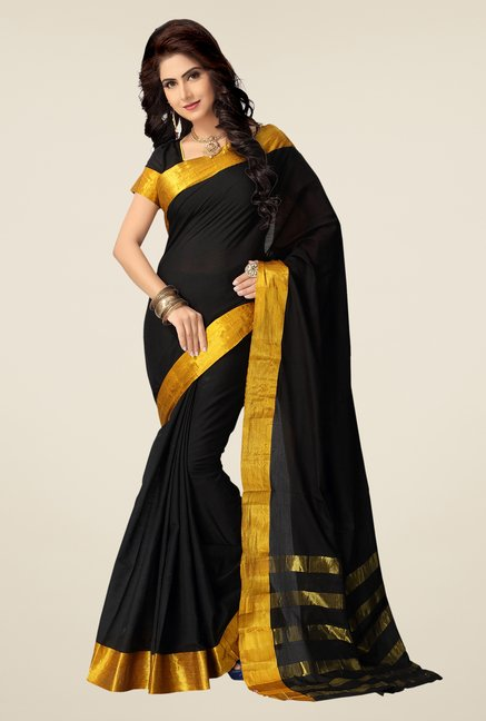Shonaya Black & Gold Cotton Silk Saree
